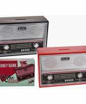 Zwarte radio spaarpot 18 cm trend
