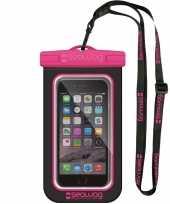 Zwarte roze waterproof hoes voor smartphone mobiele telefoon trend