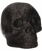 Zwarte schedel met glitters en led verlichting 9 cm trend