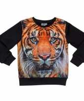Zwarte sweater met tijger voor kinderen trend