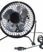 Zwarte usb ventilator 15 cm trend