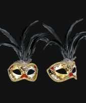 Zwarte veren oogmasker handgemaakt trend