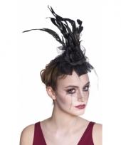 Zwarte vintage haarband met sluier en roos trend